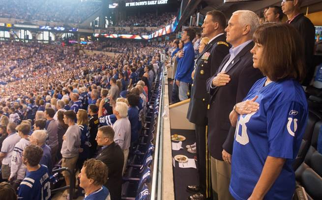 Vice President Mike Pence attending an NFL game